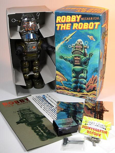File:Billiken Shokai Tin Wind Up Robby the Robot with Disintegrator Ray Gun Olive Green Version Box Inside.jpg