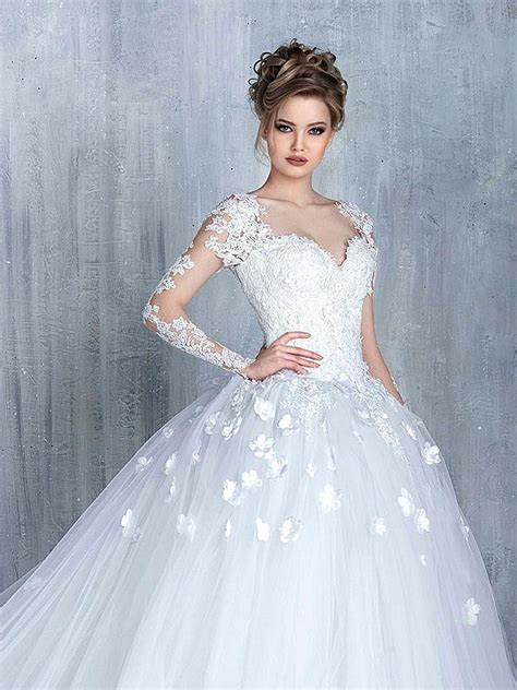 New Arrival Long Sleeve Lace Bridal Gowns Tulle Open Back