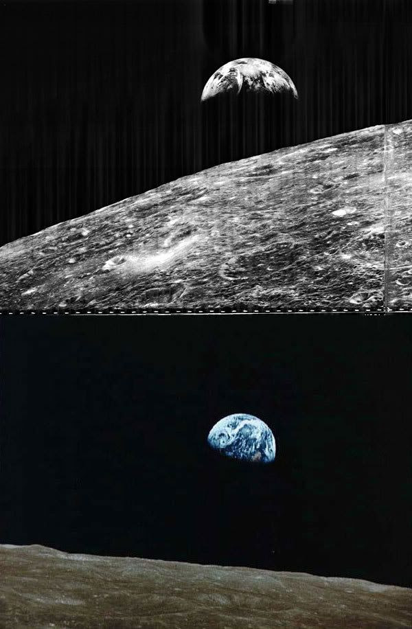 TOP PIC: The Earth rises above the Moon's horizon in this pic taken by the Lunar Orbiter 1 spacecraft in 1966.  BOTTOM PIC: Earth rises above the lunar horizon in this image taken by the Apollo 8 astronauts in 1968.