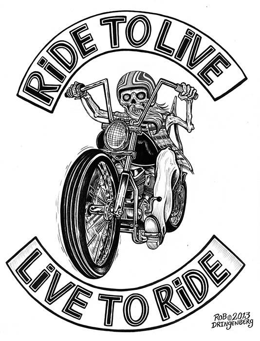Ride To Live Canvas Giclee Black Market Art Company Tattoo Art