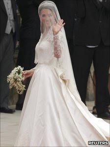 Kate Middleton in her Alexander McQueen wedding dress outside Westminster Abbey