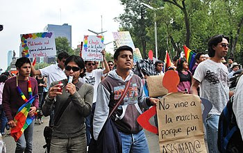 English: Protesters for gay marriage at the 20...