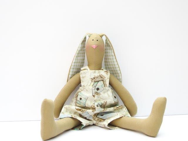 Stuffed bunny rabbit hare - child friendly toy plush rabbit bunny doll -cute softie stuffed toy Easter bunny - birthday gift for boy girl - HappyDollsByLesya