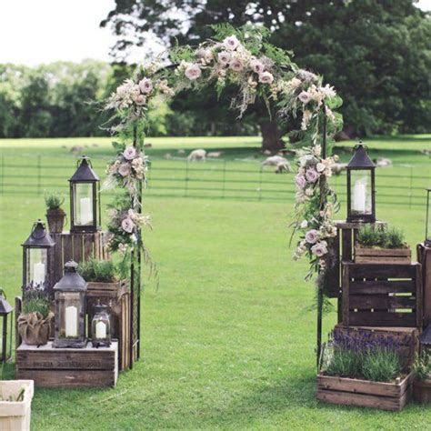 An outdoor aisle of dreams. Made with rustic wooden crates