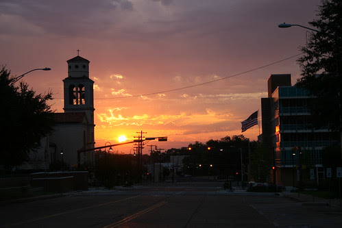 sun comes up over north fredonia street, longview