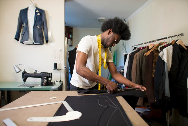 Poku rarely left his Atlanta home as he prepared his menswear collection for Charleston Fashion Week's emerging designer competition.