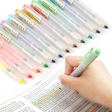 6Pcs/set Retractable Highlighters Refillable Pastel Highlighter Pen
