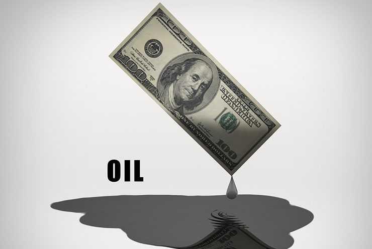Oil drips from US 100 Dollar Bill