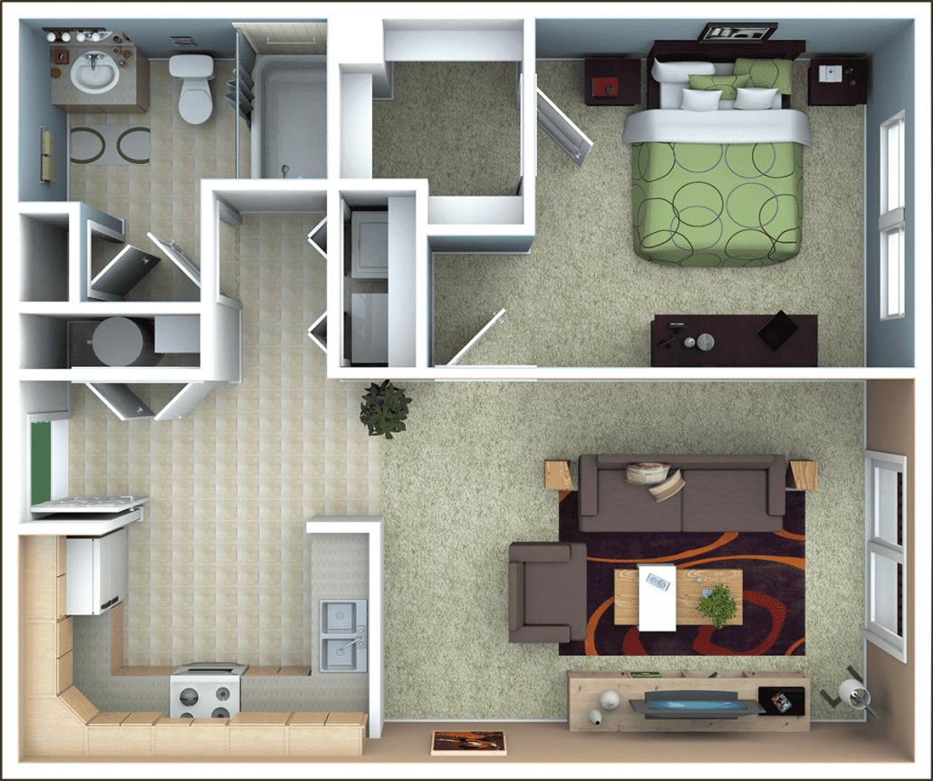 1 Bedroom House Plans With Photos Autocad Design Pallet Workshop
