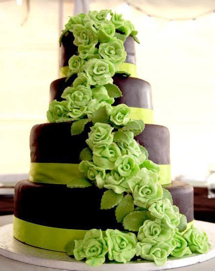 Four tier chocolate and lime green flowers wedding cake