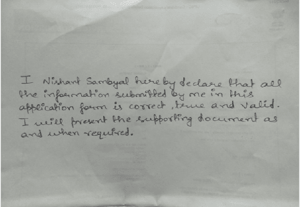 How To Write A Handwritten Declaration For The Rbi Grade B