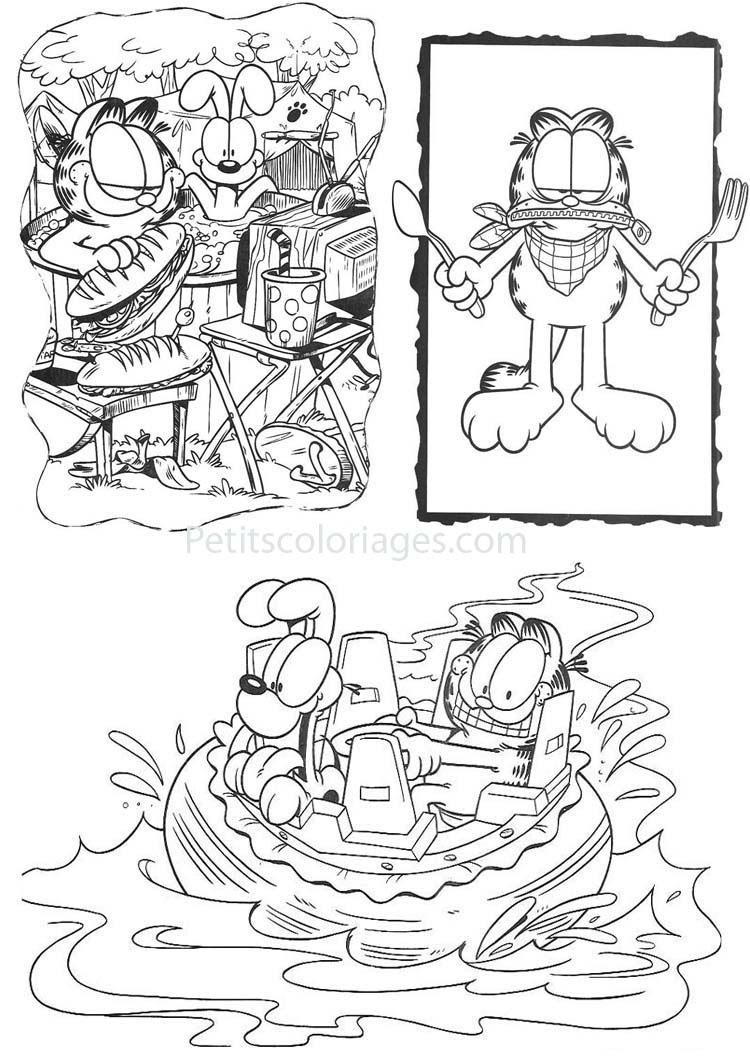 4 Coloriages Garfield Odie Piscine Bateau Fourchette Sur