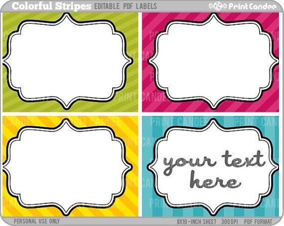 Rectangle Editable PDF 8x10 Colorful Stripes Labels No.