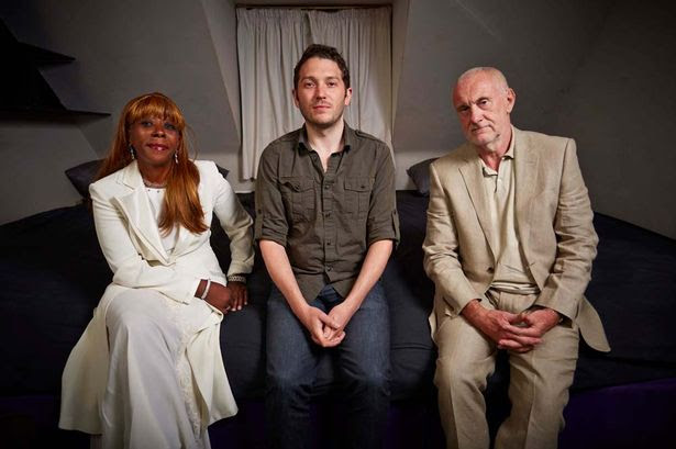 Janet, Jon Richardson and Richard at adult party