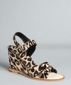 Diane von Furstenberg Leopard Print Pony Hair Dagga Wedges