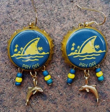 Seven Seas Upcycled Bottle Cap Earrings