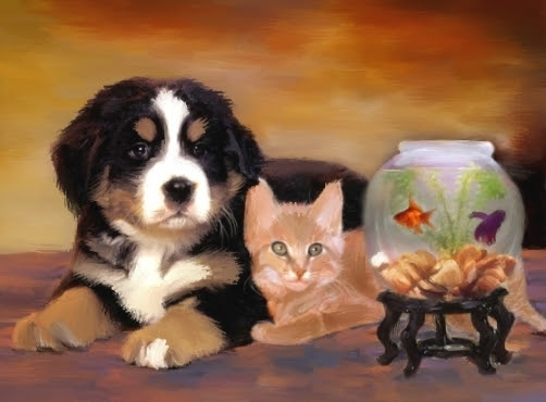 Beautiful Pets Portraits On Canvas Dogs Cats Horses Paintings
