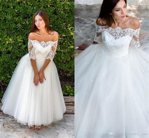 Discount Cute Short Wedding Dresses Off Shoulder Half