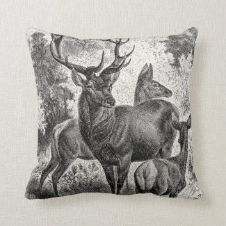 Vintage 1800s Red Deer Illustration Stag Doe Fawn Pillow