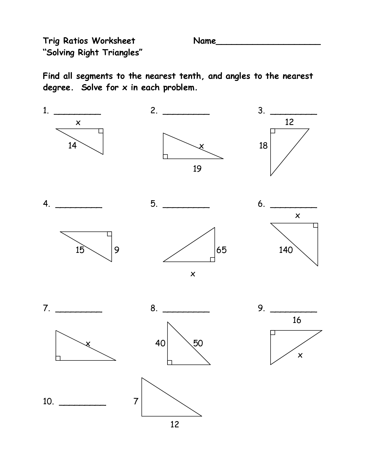 12 Best Images of Right Triangle Trigonometry Worksheet Answers  Right Triangle Trigonometry