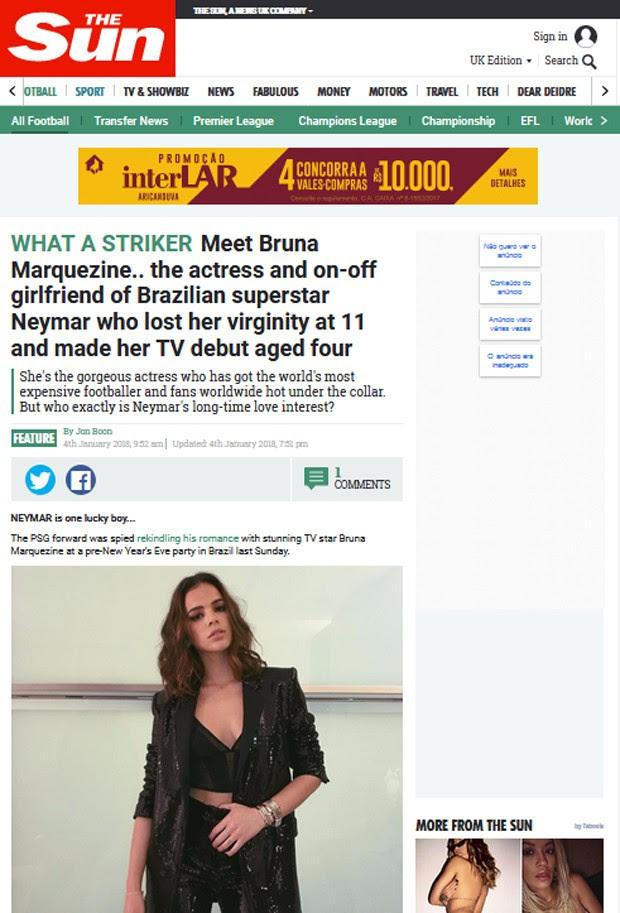 Reportagem do The Sun sobre Bruna Marquezine (Foto: Reprodução)