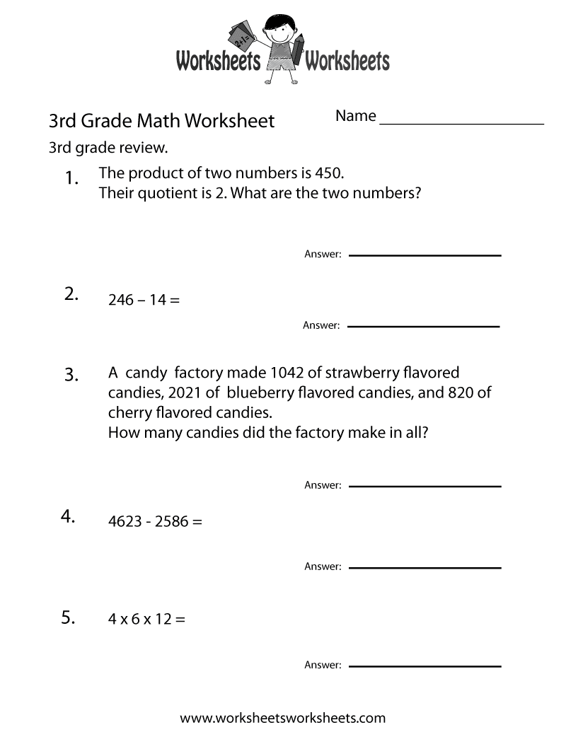 third grade math practice worksheet printable