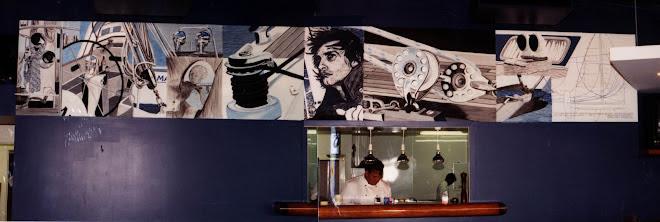Yacht club restaurant mural