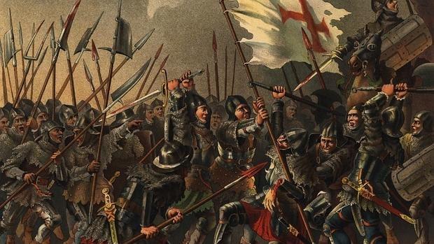 El portaestandarte portugués defiende la bandera real ante el ejército fernandino en Toro