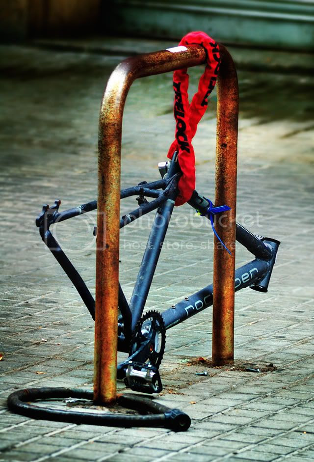 Bike Rack on Las Ramblas, Barcelona [enlarge]