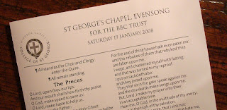 ORder of service from Evensong at St George's Chapel