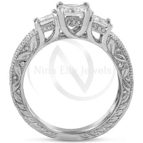Princess Cut Three Stone Antique Style Diamond Engagement