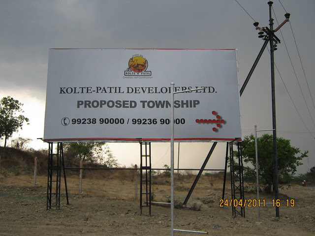 Hoarding of Kolte-Patil Developers' Proposed Township at the site, Marunje, Hinjewadi, Pune
