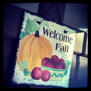 Day 5 #yarnpadc Door just hung up the Welcome #fall sign on this crisp morning in #newengland #apples #pumpkin