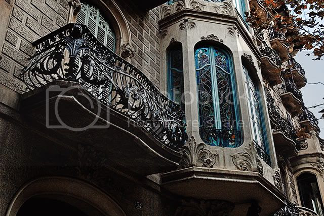 Modernist Balcony in Barcelona, Spain [enlarge]
