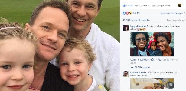 """A foto publicada pela página """"Lesbicalizando"""" apresenta o ator Neil Patrick Harris ao lado do marido, David Burtka, e dos filhos gêmeos, Gideon e Harper"""