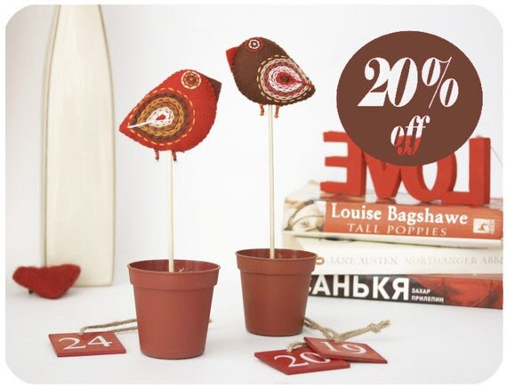 felt birds cake toppers - home decor - red & brown lovebirds