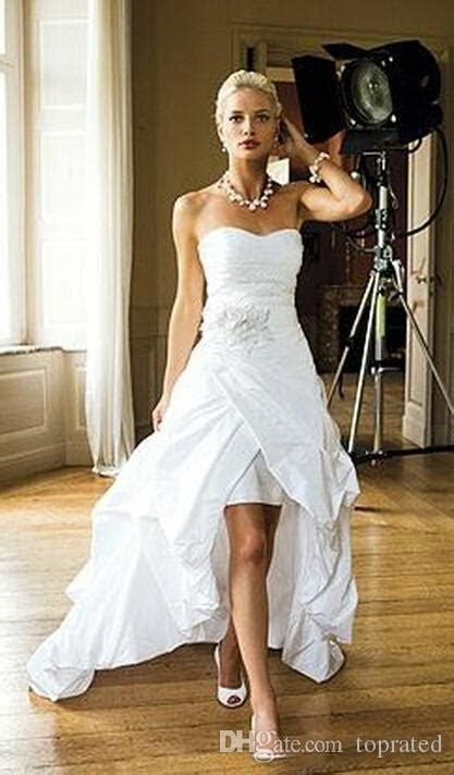 Discount 2018 Elegant Cheap High Low Beach Wedding Dresses