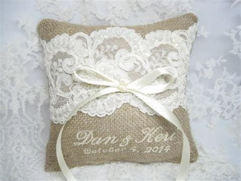 Burlap Ring Bearer Pillow, Lace Rustic Wedding Pillow