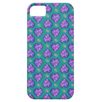 iPhone 5 Case, pretty Hearts and Flowers on Green