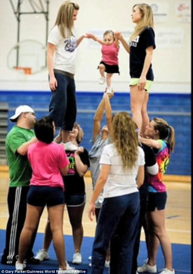 All singing: Bridgette Jordan is a cheerleader at her college