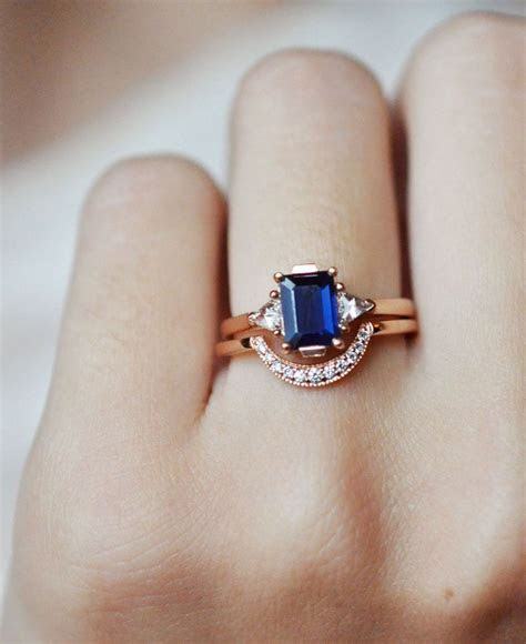 Anna Sheffield Blue Sapphire Bea Ring & Rose Gold Crescent