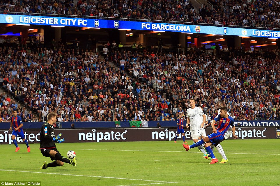 Munir gives Barcelona the lead as his left-footed strike finds the bottom corner past the stranded Ron-Robert Zieler