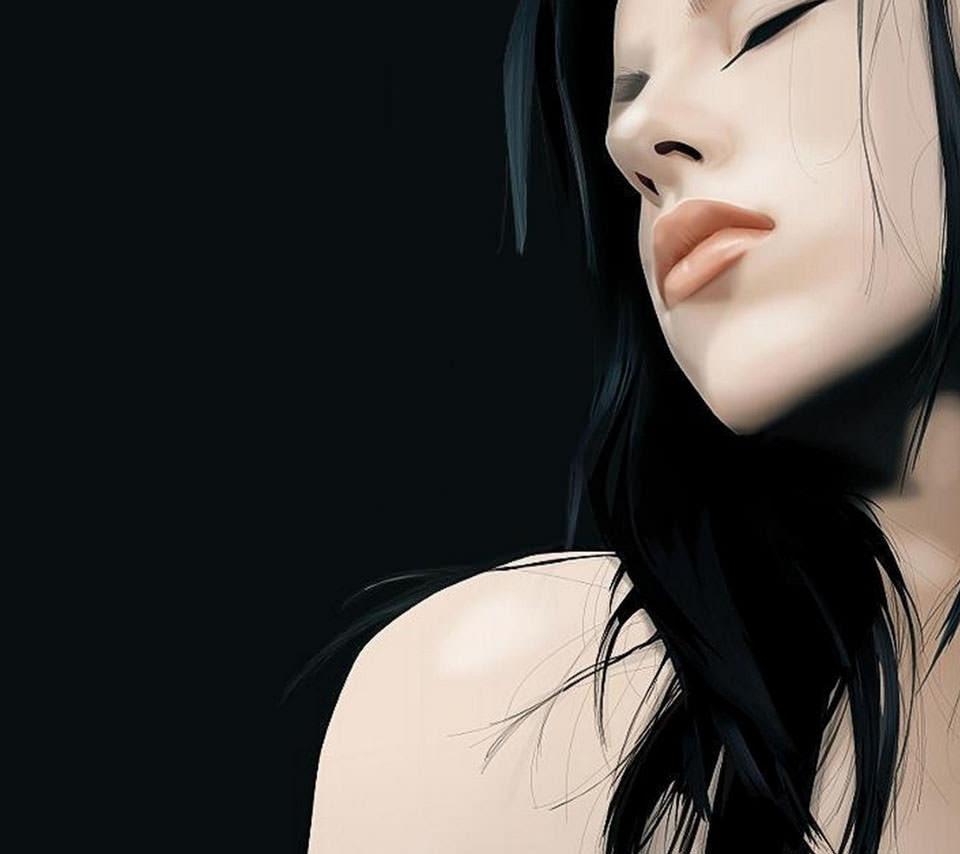 色っぽい黒髪の女性 Androidスマホ壁紙 Wallpaperbox