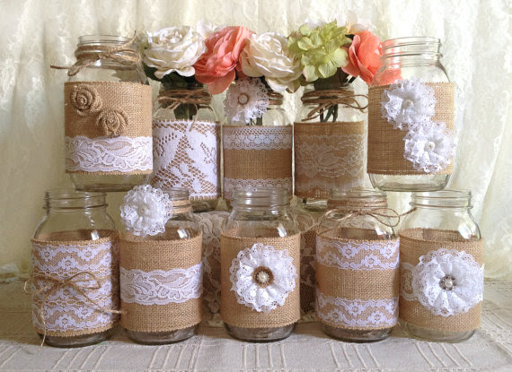 10x Rustic Burlap And White Lace Covered Mason Jar Vases Wedding