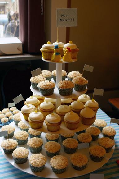 blue & yellow themed cupcake wedding!