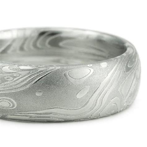 Men's Wedding Ring   Domed With Flowing Pattern Like Water