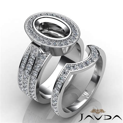 2.3Ct Diamond Engagement Pave Ring Bridal Sets 14K White