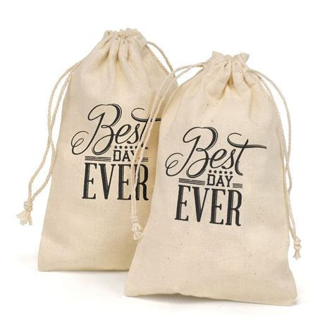 Best Day Ever Cotton Favor Bags   Invitations By Dawn