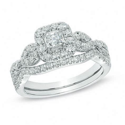 1 CT. T.W. Princess Cut Diamond Frame Twist Bridal Set in