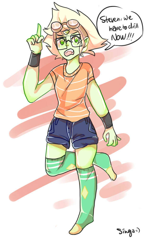 The two new Steven Universe episodes were so amazing! @v@ Here's a Peridot inspired by Gem Drill